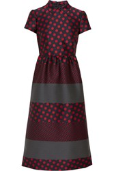 Red Valentino Redvalentino Polka Dot Jacquard Midi Dress Crimson