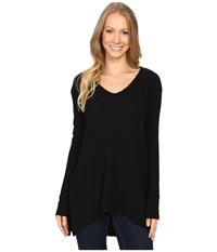 Mod O Doc Textured Slub Stripe Seamed V Neck Long Sleeve Tee Black Women's T Shirt