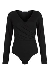 Oh My Love Ruched Waist Long Sleeve Body By Black