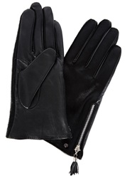 Dents Black Calf Hair And Leather Gloves