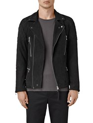 Allsaints Kenji Suede Biker Jacket Washed Black