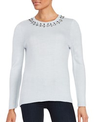 Ivanka Trump Embellished Knit Sweater Heather Frost