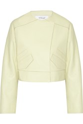 10 Crosby By Derek Lam Cropped Leather Jacket Green