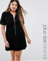 Alice And You Short Sleeve Zip Front Corduroy Dress With Belted Detail Black