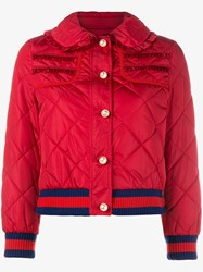 Gucci Puffer Jacket With Pearl Buttons Red Pearl White