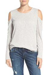 Bobeau Women's Cold Shoulder Ribbed Sweater Silver