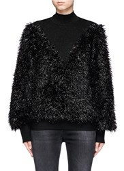 Jinnnn Metallic Film Fibre Mohair Blend Glitter Wool Sweater Black