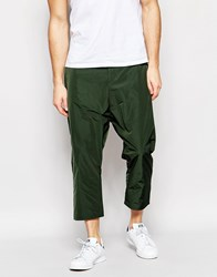 Asos Drop Crotch Cropped Trousers In Khaki Green