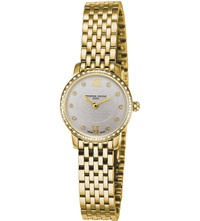 Frederique Constant Fc200whdsd5b Slimline Mini Gold Plated Stainless Steel And Diamond Bezel Watch