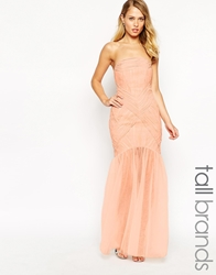 Jarlo Tall Felicity Bandeau Maxi Dress With Ruched Bodice And Tulle Skirt Softpink