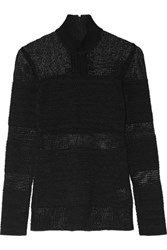 Proenza Schouler Open Knit Turtleneck Sweater Black