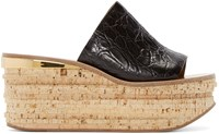 Chloe Black Leather And Cork Sandals