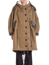 Burberry Shearling Hood And Leather Trimmed Oversized Cotton Twill Parka Olive