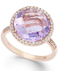 Macy's Amethyst 5 1 2 Ct. T.W. And Diamond 1 4 Ct. T.W. Round Ring In 14K Rose Gold