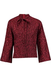 Valentino Pussy Bow Leopard Print Cotton And Silk Blend Blouse Red