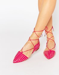 Asos Launch Studded Lace Up Ballet Flats Pink