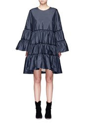 Chloe Ruffle Trim Silk Shantung Dress Blue