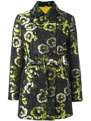 Etro Floral Print Trench Coat Black