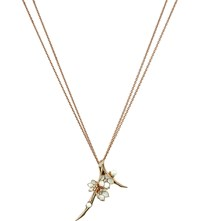 Shaun Leane Cherry Blossom Rose Gold Vermeil Ivory Enamel Pearl And Diamond Branch Pendant Necklace Large