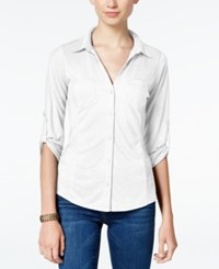 Almost Famous Juniors' Ribbed Panel Utility Top White