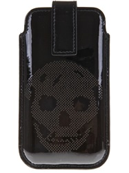 Alexander Mcqueen Perforated Skull Iphone Case Black