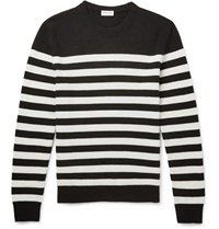 Saint Laurent Striped Cashmere Sweater Black