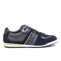 Hugo Boss Green Men's Akeen Nylon Suede Trainers Navy Blue
