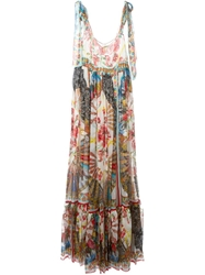 Dolce And Gabbana Long Fan Print Dress Multicolour