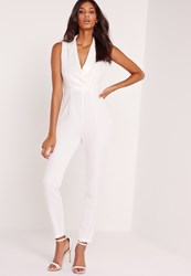 Missguided Crepe Blazer Detail Jumpsuit White White