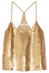 Tibi Eclair Sequined Silk Georgette Camisole Gold