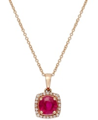 Effy Collection Rosa By Effy Ruby 1 Ct. T.W. And Diamond Accent Square Pendant In 14K Rose Gold