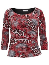 Gina Bacconi Animal Print Glimmer Jersey Top Red