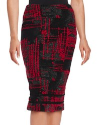 Helene Berman Abstract Printed Pencil Skirt Black Red