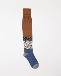 Maison Martin Margiela Silk Jacquard Socks Rust And Bleach Blue