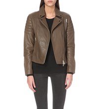 Allsaints Obika Leather Biker Jacker Dark Khaki Gre