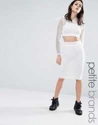 Noisy May Petite Kicks Back Mesh Grid Bodycon Skirt White