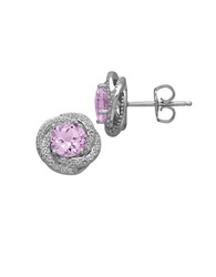 Lord And Taylor Sterling Silver Pink Amethyst And White Topaz Earrings