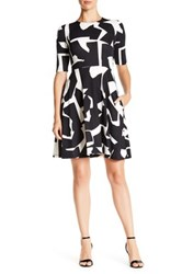 Donna Morgan Two Tone Graphic Fit And Flare Dress Black