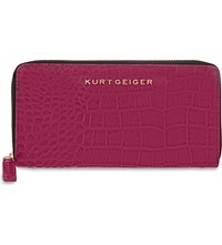 Kurt Geiger Zip Around Crocodile Embossed Leather Wallet Fushia Croc