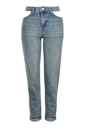 Topshop Moto Cut Out Pocket Mom Jeans Bleach Stone