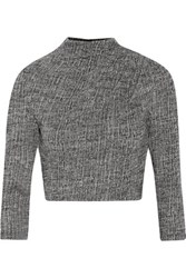 Alice Olivia Christa Cropped Stretch Wool Top Gray