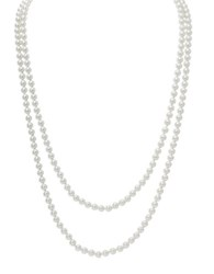 Lauren Ralph Lauren Social Set 6Mm Simulated Pearl Silvertone Endless Rope Necklace White