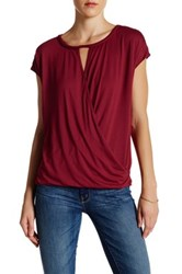 Max Studio Wrap Front Tee Brown