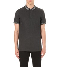 Emporio Armani Striped Collar Cotton Pique Polo Shirt Ardesia