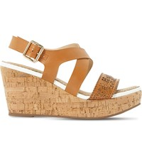 Dune Katness Leather Wedge Sandals Tan Leather