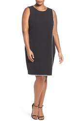 London Times Plus Size Women's Crystal Trim Shift Dress
