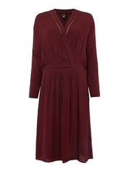 Maison Scotch Drape Wrapover Dress Red