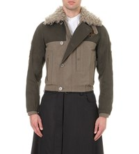 Dries Van Noten Mohair Collar Wool Jacket Khaki