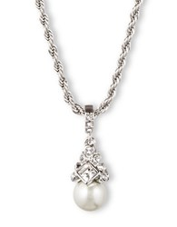 Givenchy Braided Silvertone And Crystallized Pearl Pendant Necklace