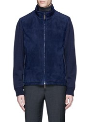 Canali Mixed Knit Sleeve Suede Jacket Blue